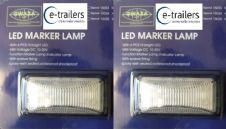 2 x TRAILER FRONT LED CLEAR MARKER INDICATOR LIGHT LAMP 10-30v 74x38x30mm
